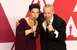 """John Warhurst and Nina Hartstone, winners of the Best Sound Editing Awards for """"Bohemian RhapsodyÓ at the 91st Annual Academy Awards (Oscars) presented by the Academy of Motion Picture Arts and Sciences.<br /> (Hollywood, CA, USA)"""