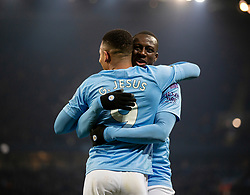 MANCHESTER, ENGLAND - Wednesday, January 1, 2020: Manchester City's Gabriel Jesus (L) celebrates scoring his second goal during the FA Premier League match between Manchester City FC and Everton FC at the City of Manchester Stadium. Manchester City won 2-1. (Pic by David Rawcliffe/Propaganda)
