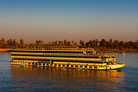 hotel boat cruising  on the river nile in egypt