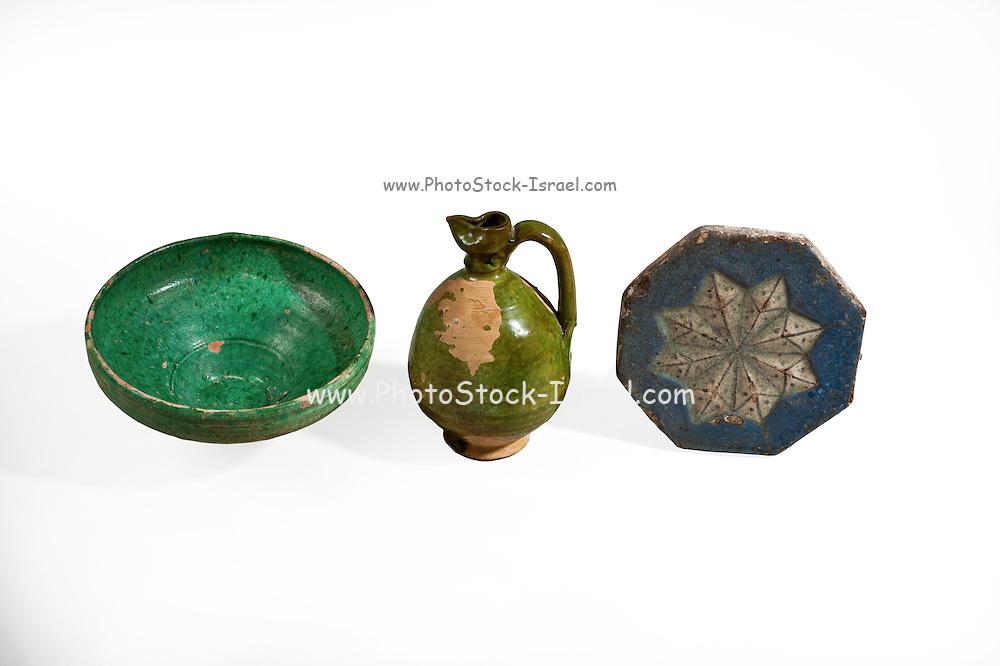 Glazed terracotta vessels Crusaders period 10-15 century CE