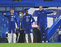 Football - 2020 / 2021 Premier League - Chelsea vs Brighton & Hove Albion - Stamford Bridge<br /> <br /> Chelsea manager, Thomas Tuchel with Callum Hudson Odoi and Timo Werner<br /> <br /> Credit : COLORSPORT/ANDREW COWIE