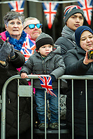 LEICESTER - ENGLAND 11FEB: Members of the public wait for the Prince Charles, Prince of Wales and Camilla, Duchess of Cornwall to arrive for a visit to the market on February 11, 2020 in Leicester, United Kingdom