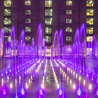 The Granary building and Granary Square fountains, King's Cross