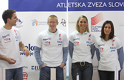 Cene Subic, Matic Osovnikar, Snezana Rodic and Marija Sestak at press conference before departure of  Slovenian athletics team to European Athletics Indoor Championships Torino 2009, in Ljubljana, Slovenia, on March 4, 2009. (Photo by Vid Ponikvar / Sportida)