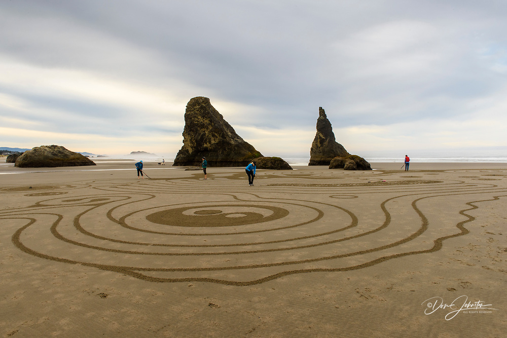 Sand labyrinth created by Labyrinth artist Denny Dyke at low tide on Bandon Beach, Bandon, Oregon, USA