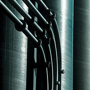 Close-up of metallic water tanks
