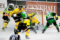06.09.2012. Hala Tivoli, Ljubljana, SLO, EBEL, HDD Telemach Olimpija Ljubljana vs UPC Vienna Capitals, 01. Runde, in picture Chris D'Alvise (HDD Telemach Olimpija, #15) vs Fabian Weinhandl (UPC Vienna Capitals, #31) during the Erste Bank Icehockey League 1st Round match betweeen HDD Telemach Olimpija Ljubljana and UPC Vienna Capitals at the Hala Tivoli, Ljubljana, Slovenia on 2012/09/06. (Photo By Matic Klansek Velej / Sportida)
