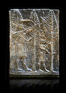 Stone relief sculptured panel of a a bird hunt. Inv AO 19886 from Dur Sharrukin the palace of Assyrian king Sargon II at Khorsabad, 713-706 BC.  Louvre Museum Room 4 , Paris .<br /> <br /> If you prefer to buy from our ALAMY PHOTO LIBRARY  Collection visit : https://www.alamy.com/portfolio/paul-williams-funkystock/ancient-assyria-antiquities.html  Refine search by adding background colour, place, subject, museum etc into the LOWER SEARCH WITHIN GALLERY box to <br /> <br /> Visit our ANCIENT ASSYRIAN PHOTO COLLECTIONS for more photos to download or buy as wall art prints https://funkystock.photoshelter.com/gallery-collection/Ancient-Assyrian-Art-Artefacts-Antiquities-Historic-Sites-Pictures-Images-of/C0000cjRqQyJjLag