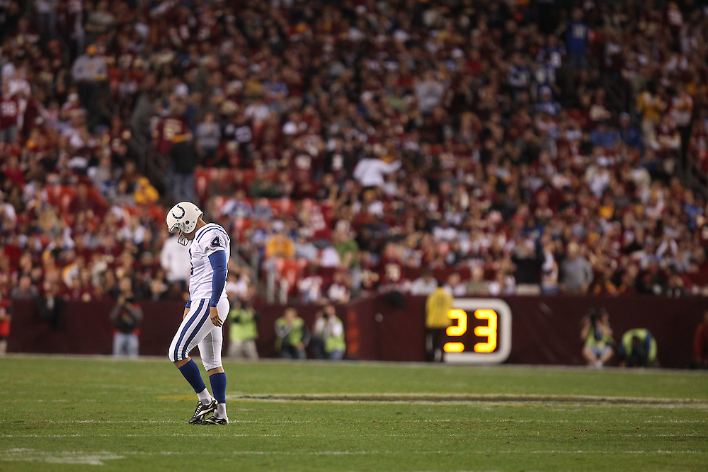 Washington., Oct. 17, 2010 -Redskins vs. Colts  - Colts K #4 Adam Vinatieri reacts after missing his 2nd field goal of the game.  (Photo by Jay Westcott/TBD)