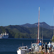 The Wellington to Picton ferry leaving Picton Harbour. Picton, New Zealand.  27th January 2011.Photo Tim Clayton.