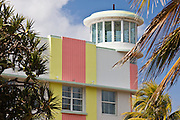 Waldorf Towers Hotel art deco architecture on Ocean Drive, South Beach, Miami, Florida, United States of America