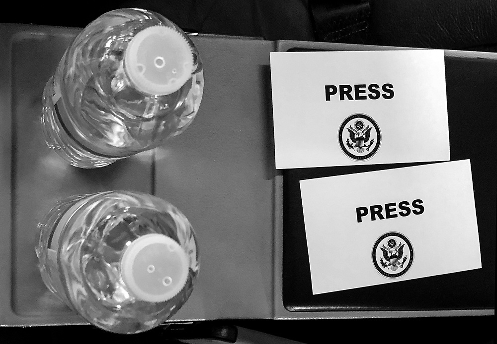 Bottles of water are seen on a plane at Joint Base Andrews outside Washington, DC.