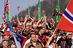 Fans of Norway during Flying Hill Individual First Round at 2nd day of FIS Ski Flying World Championships Planica 2010, on March 19, 2010, Planica, Slovenia.  (Photo by Vid Ponikvar / Sportida)