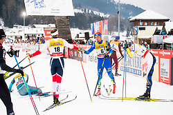 January 6, 2018 - Val Di Fiemme, ITALY - 180106 Niklas Dyrhaug of Norway and Alexey Poltoranin of Kazakhstan after men's 15km mass start classic technique during Tour de Ski on January 6, 2018 in Val di Fiemme..Photo: Jon Olav Nesvold / BILDBYRN / kod JE / 160123 (Credit Image: © Jon Olav Nesvold/Bildbyran via ZUMA Wire)