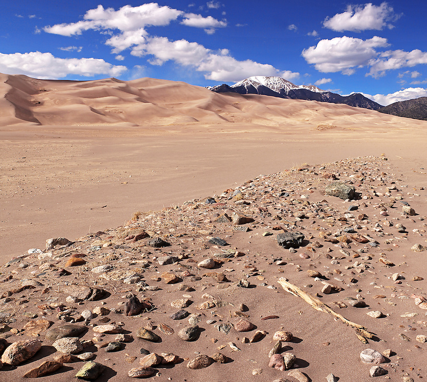 Great Sand Dunes National Park. This portion of Medano Creek only contains water during periods of extremely high runoff.