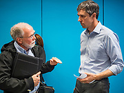 06 MAY 2019 - DES MOINES, IOWA: TOM WIND, left, of Wind Energy Consulting, talks to BETO O'ROURKE after a round table discussion of climate change. O'Rouke is campaigning in Iowa to support his candidacy to be the Democratic nominee for the US Presidency in 2020.  Iowa traditionally hosts the the first election event of the presidential election cycle. The Iowa Caucuses will be on Feb. 3, 2020.              PHOTO BY JACK KURTZ