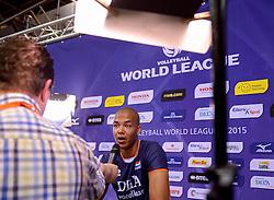 20150619 NED: World League Nederland - Portugal, Groningen<br /> De Nederlandse volleyballers hebben in de World League ook hun eerste duel met Portugal met 3-0 gewonnen / Nimir Abdelaziz #1 staat de pers te woord
