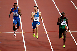 Samoa's Jeremy Dodson (left), Italy's Filippo Tortu and Zambia's Sydney Siame in action in the Men's 200m heats during day four of the 2017 IAAF World Championships at the London Stadium. PRESS ASSOCIATION Photo. Picture date: Monday August 7, 2017. See PA story ATHLETICS World. Photo credit should read: John Walton/PA Wire. RESTRICTIONS: Editorial use only. No transmission of sound or moving images and no video simulation