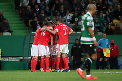 February 3, 2019 - Lisbon, Portugal - Benfica's Portuguese forward Joao Felix celebrates with teammates after scoring  during the Portuguese League football match Sporting CP vs SL Benfica at Alvalade stadium in Lisbon, Portugal on February 3, 2019. (Credit Image: © Pedro Fiuza/ZUMA Wire)