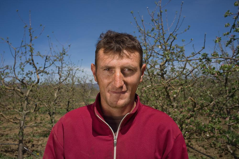 Apple farmer Husein Retzepovski (28) near Bela Crkva, FYR Macedonia
