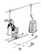 (A ski lift with one chair having a notice saying: 'Please give up this seat to an infirm or elderly person')