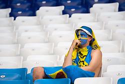 July 7, 2018 - Samara, RUSSIA - 180707 A fan of Sweden looks dejected after his team lost the FIFA World Cup quarter final match between Sweden and England on July 7, 2018 in Samara..Photo: Joel Marklund / BILDBYRÃ…N / kod JM / 87755 (Credit Image: © Joel Marklund/Bildbyran via ZUMA Press)