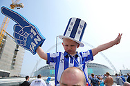 a Young Sheffield Wednesday fan outside Wembley Stadium before k/o. Skybet football league Championship play off final match, Hull city v Sheffield Wednesday at Wembley Stadium in London on Saturday 28th May 2016.<br /> pic by John Patrick Fletcher, Andrew Orchard sports photography.