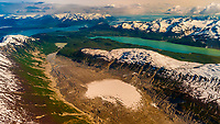 Aerial views above Glacier Bay National Park, southeast Alaska USA. Glacier Bay is a UNESCO World Heritage Site.