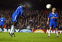 Photograph: Scott Heavey.Digitalsport<br /> Chelsea v Besiktas JK. UEFA Champions League Group G. 01/10/2003.<br /> Even the bullet header from Jimmy Floyd Hasselbaink cant find the back of the net
