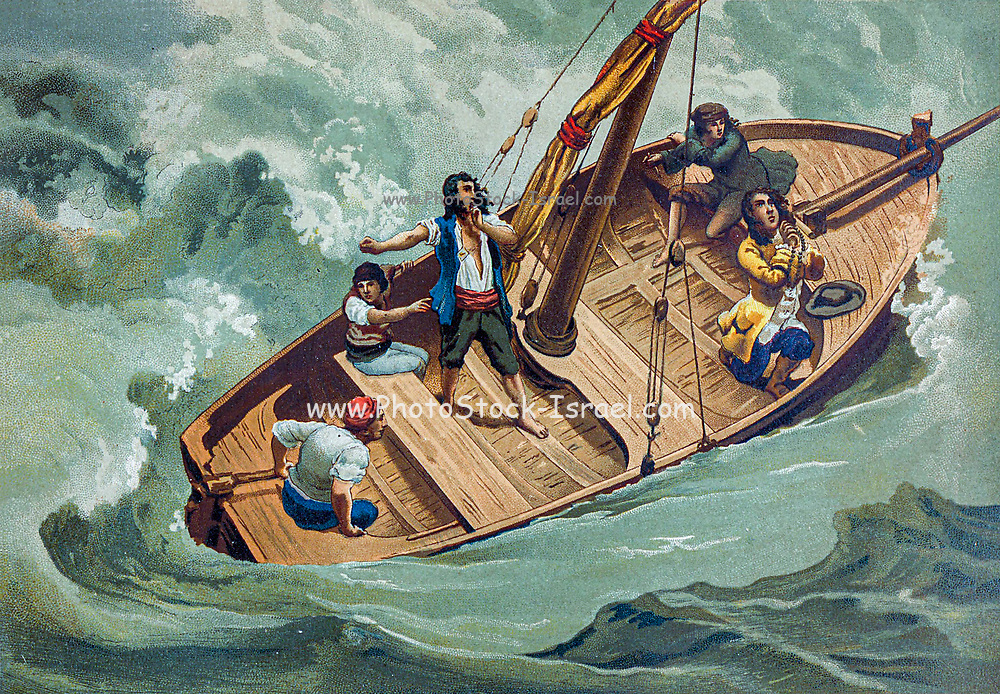 Gottfried Wilhelm (von) Leibniz (Leibnitz) (1 July 1646 – 14 November 1716) was a prominent German polymath and one of the most important logicians, mathematicians and natural philosophers of the Enlightenment. Here praying in a boat during a storm. From the book La ciencia y sus hombres : vidas de los sabios ilustres desde la antigüedad hasta el siglo XIX T. 3  [Science and its men: lives of the illustrious sages from antiquity to the 19th century Vol 3] By by Figuier, Louis, (1819-1894); Casabó y Pagés, Pelegrín, n. 1831 Published in Barcelona by D. Jaime Seix, editor , 1879 (Imprenta de Baseda y Giró)