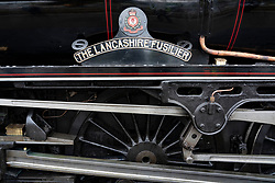 The Lancashire Fusilier steam trail , known as The Jacobite, pulling tourist train on West Highland line at Fort William in Scotland, UK