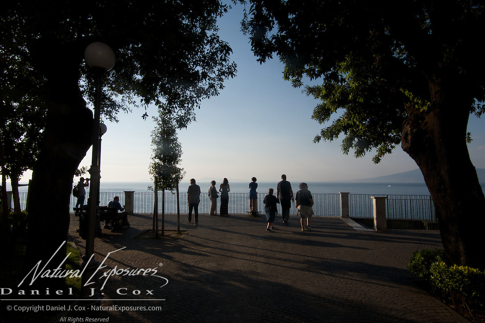 Tourists along the water front in Sorrento, Italy