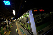 Blue LED lights installed at Yoyogi station in an effort to decrease suicides by jumping under trains. The blue lights were installed on all 29 stations of the Tokyo Loop (Yamanote) Line in 2008. The blue lights are meant to calm and soothe potential jumpers though there is little scientific evidence for this. Japan has one of the highest suicide rates in the world which the recent economic crisis has exacerbated. Yoyogi Station, Tokyo, Japan. Tuesday June 26th 2012
