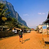 Tourist walks in Nong Khiaw, Laos