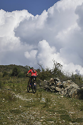 October 4, 2018 - Himachal Pradesh, India - Rider competes at the 14th edition of the Hero MTB Himalaya mountain bike race in the northern Indian state of Himachal Pradesh on 4th  October, 2018. The 14th edition of the annual cross country race is taking place over eight stages in the foothills of the Himalaya, started in Shimla on September 28, 2018 and finishing in Dharamshala on October 6,2018. (Credit Image: © Indraneel Chowdhury/NurPhoto/ZUMA Press)