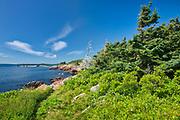 Rocky shoreline along the Cabot Strait (Atlantic Ocean) at Lakies Head. Cabot Trail. Cape Breton Island.<br />Cape Breton Highlands National Park<br />Nova Scotia<br />Canada