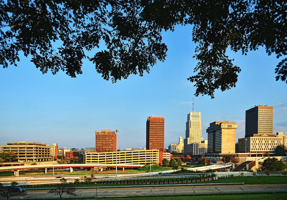 View of the downtown Akron skyline.