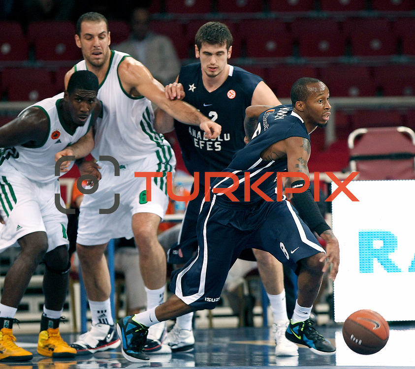 Anadolu Efes's Terence KINSEY (R) during their Two Nations Cup basketball match Anadolu Efes between Panathinaikos at Abdi Ipekci Arena in Istanbul Turkey on Saturday 01 October 2011. Photo by TURKPIX