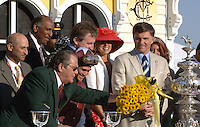 Winners Circle, Preakness Syakes, from left (tall blk gentleman) MD Lt Gov Michael Steele, (tan jacket) MD Gov Robert Ehrlich)  all others, ?