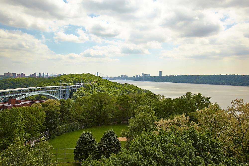 View of Hudson River, George Washington Bridge and Henry Hudson Parkway Bridge from Riverdale, 750 Kappock Street