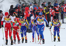 Alena Sannikova of Belorussia (35), Svetlana Malahova of Kazakhstan (34) and Natalia Korosteleva of Russia (27) at Ladies` Pursuit 7,5 km Classic + 7,5 km Free at FIS Nordic World Ski Championships Liberec 2008, on February 21, 2009, in Vestec, Liberec, Czech Republic. (Photo by Vid Ponikvar / Sportida)