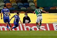 Tiago Tomás shoots for goal during the Liga NOS match between Sporting Lisbon and Belenenses SAD at Estadio Jose Alvalade, Lisbon, Portugal on 21 April 2021.