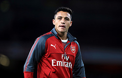 Arsenal's Alexis Sanchez during warm-up before the Carabao Cup, Third Round match at the Emirates Stadium, London.