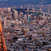 View of San Francisco's SOMA area from Twin Peaks Summit at dusk.