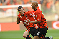 FOOTBALL - FRENCH CHAMPIONSHIP 2010/2011 - L1 - STADE RENNAIS v FC LORIENT - 16/04/2011 - PHOTO PASCAL ALLEE / DPPI - JOY STEPHANE DALMAT (REN) AFTER HIS GOAL WITH ROMAIN DANZE