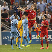 Jordan Henderson, Liverpool, celebrates after scoring his sides first goal during the Manchester City Vs Liverpool FC Guinness International Champions Cup match at Yankee Stadium, The Bronx, New York, USA. 30th July 2014. Photo Tim Clayton