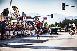 Domen Novak celebrating at Slovenian Road Cyling Championship 2019 on June 30, 2019 in Radovljica, Slovenia. Photo by Peter Podobnik / Sportida.