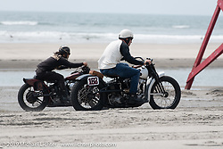 Nick Hunter (182) going head to head against Freewheelers And Company's Sushi Atsushi Yasui, both on their Harley-Davidson Knuckleheads at