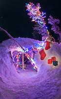 Christmas scene at hut on top of Mt. Glory
