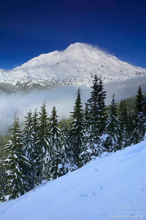 Fresh snow blankets Rampart Ridge, which overlooks Mount Rainier in Washington state.